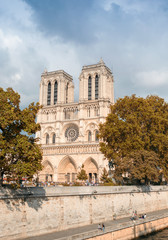 Notre Dame in paris, exterior view on a cloudy day