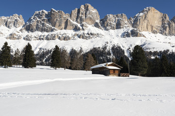 Ski slope in the Dolomites