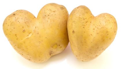 duo de pommes de terre en forme de coeur