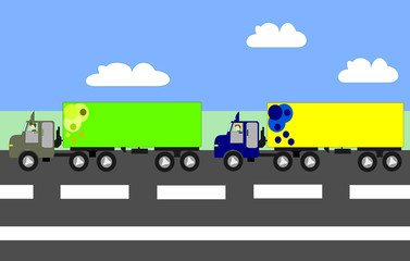 Big trucks moving on the highway, animation, cartoon