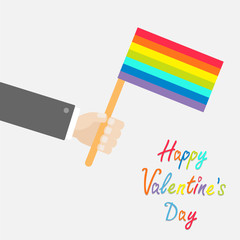 Man hand holding rainbow gay pride flag Flat  Valentines day