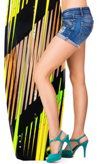 Beautiful woman holding surfing board