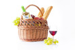 White wine, fruit and picnic food - 74631595