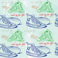 sneakers drawn in sketch style pattern