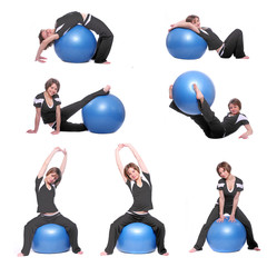 Young woman exercising with blue ball. Collection pictures.