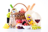 White wine, fruit and picnic food