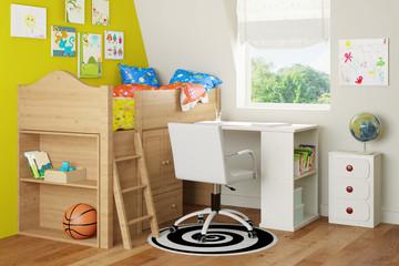 Hochbett und Schreibtisch im Kinderzimmer