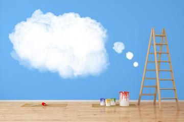 Weiße Wolke an Wand gemalt