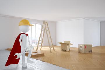 3D Mensch als Handwerker bei Renovierung