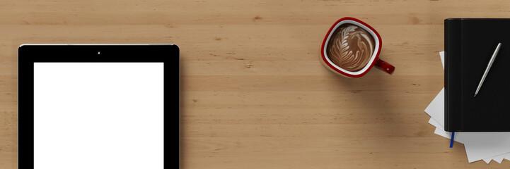 Panorama vom Schreibtisch mit Tablet PC