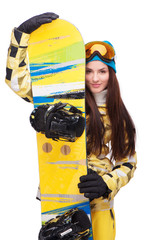 Smiling woman with snowboard