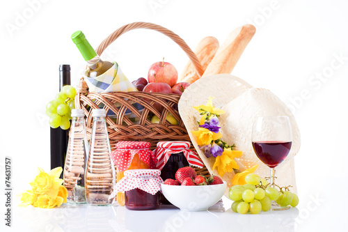 Fotobehang Picknick White wine, fruit and picnic food