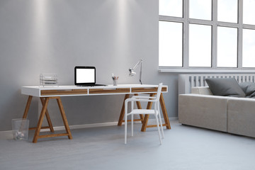 Schreibtisch als Home Office im Wohnzimmer