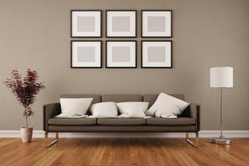 Wand mit Bilderrahmen im Wohnzimmer