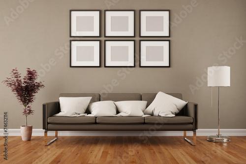 Leinwandbild Motiv Wand mit Bilderrahmen im Wohnzimmer