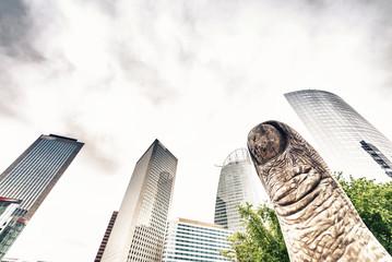 The giant finger sculpture in La Defense, Paris, France