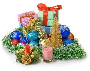 image of different Christmas dekorations and boxes with gifts