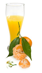 Isolated image of juice and tangerine closeup