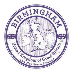 Grunge rubber stamp with words United Kingdom, Birmingham