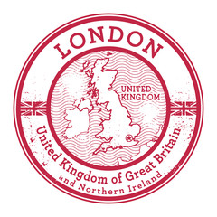Grunge rubber stamp with words United Kingdom, London