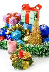 different Christmas decoration and boxes with gifts