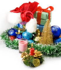 image of different Christmas decoration and boxes with gifts