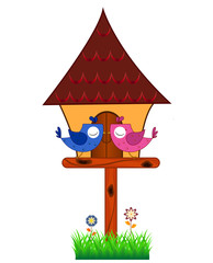 Lover Birds perched on a bird house