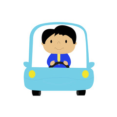 Simple cartoon of a businessman driving a car
