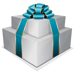Pile gift box with bow