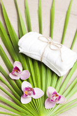 Spa and wellness setting with flowers