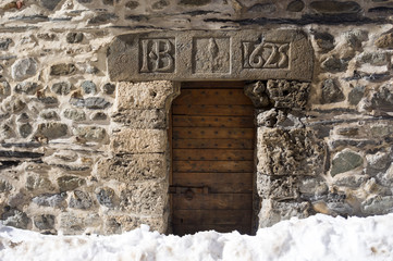 Details of the wall of old house in La Grave