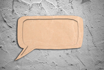 speak bubble with grunge cement wall background