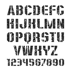 Stencil-plate font and numeral