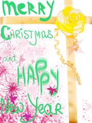 Merry Christmas and Happy New Year, handwritten text with yellow