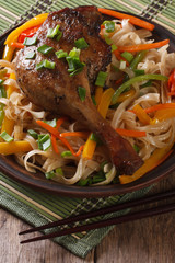 duck leg with rice noodles and vegetables closeup. Vertical