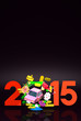 Jumping Car, New Year Ornament, 2015 On Black Text Space