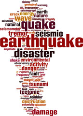 Earthquake word cloud concept. Vector illustration