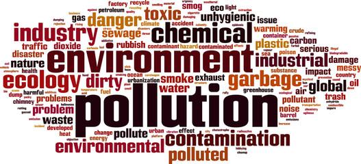 Pollution word cloud concept. Vector illustration