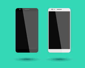 2 big smartphones mockup vector illustration, eps10