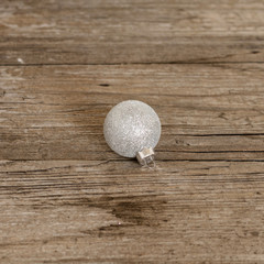 christmas ball on wooden background