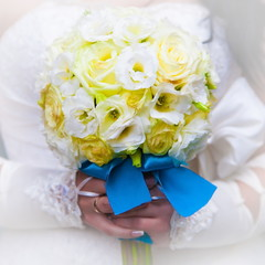 wedding flowers bouquet yellow rose and blue tape