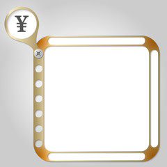 perforated frame for any text and yen symbol