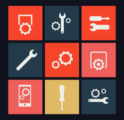 settings, preferences flat icons vector illustration, eps10