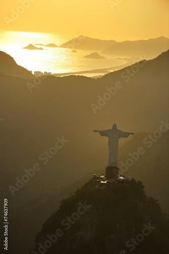 Aerial view of Christ on Corcovado Hill, Rio de Janeiro, Brazil Poster