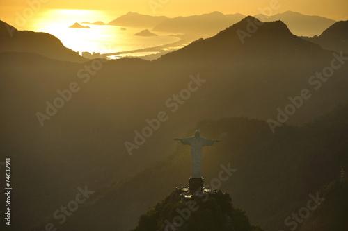 Aerial view of Christ on Corcovado Hill, Rio de Janeiro, Brazil Canvas Print