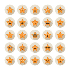 Set of stars with different emotions