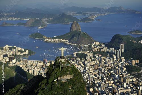Aerial view of Christ, Sugarloaf, Guanabara Bay, Rio de Janeiro Canvas Print