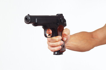Hand with pistol on a white background