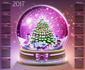 Calendar with christmas snow glass crystal ball on 2017 vector