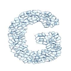 G lettera diamanti cristalli gemme 3d, sfondo bianco